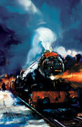 Harry Potter Hogwarts Express Jim Salvati Signed Giclee On Canvas Limited Ed 100