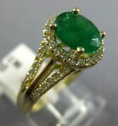 Large 1.40ct Diamond And Aaa Emerald 14kt Yellow Gold 3d Oval Halo Engagement Ring