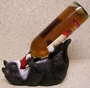 Wine Bottle Holder And/or Decorative Sculpture Cat Feline Black And White New