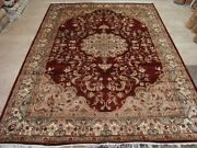 Wow Mid Night Red Medallion Floral Hand Knotted Rug Wool Silk Carpet 9 X 6and039