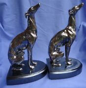 1920 Silver Whippet Italian Greyhound Jennings Brothers Dog Bookends 10