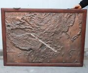 111 Cm Chinese Pure Copper Handwork Chisel Geomorphologic Map Of China