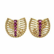 Vintage 1950 Natural Gia Bright Red Ruby Earrings 14k Gold Clip Post