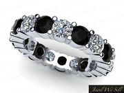 3.00ct Round Cut Black Diamond Shared Eternity Band Ring 18k White Gold Aa H Si2