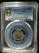 1898 Obv6 Pcgs Graded Canadian 10 Cent Ms-64