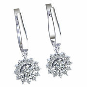 Natural 1.4carat Round Cut Diamond Ladies Halo Flower Earrings 18k Gold