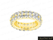 2.70ct Round Diamond Dual Row Shared Prong Eternity Band Ring 14k Gold Vs2 Prong