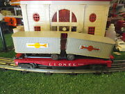Lionel Post War 6430 Flat Car With 2 Trailers Vg Original Cond 1956-58