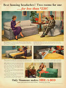 1951 Vintage Ad For Simmons Hide-a-bedgrey Sofa/retro Living Room 082113