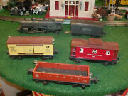 Lionel Trains Prewar 7100wx 204 Loco And Tender With 3 Rolling Stock Cars Set