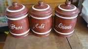 Vintage French Enamelware Set Of 3 Spice Pots Coffee Sugar Chicory