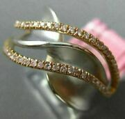 Estate Wide .31ct Pink Diamond 18kt White And Rose Gold Multi Row X Love Fun Ring