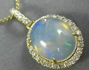 Estate 3.73ct Diamond And Aaa Opal 14kt Yellow Gold 3d Classic Oval Halo Pendant