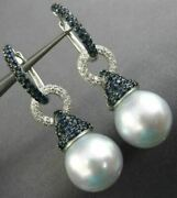 Large 1.57ct Diamond Aaa Sapphire And South Sea Pearl 18kt White Gold 3d Earrings
