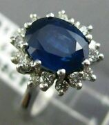 Antique 3.30ct Diamond And Aaa Sapphire 14kt White Gold 3d Engagement Ring 17489