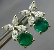 Estate Large 3.25ct Diamond And Aaa Colombian Emerald Flower Hanging Stud Earrings