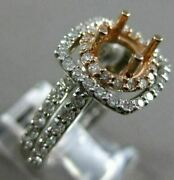 Estate 1.13ct Diamond 14kt White And Rose Gold 3d Halo Semi Mount Engagement Ring