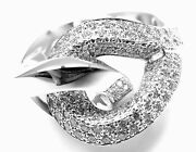 Rare Authentic Hermes 18k White Gold Diamond Free Style Twisted Band Ring