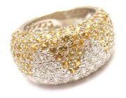 Authentic Chopard 18k White Gold Yellow Sapphire Diamond Wave Wide Band Ring