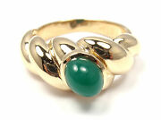 Rare Authentic And Vca 18k Yellow Gold Chalcedony Band Ring