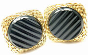 Rare Authentic Vintage And 18k Yellow Gold Agate Cufflinks