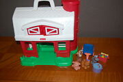 Farm Playset Fisher Price Little People Pig Cart Horse Dog Fish Pond Vintage Toy