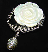 18k White Gold Custom Hand Made Mother Of Pearl Rose Pin Pendant