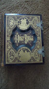 1884 Family Holy Bible And Reference Dictionary Leather Gold Color Plate-antique