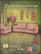 1950 Vintage Ad For Kroehler Furniture`retro Furniture Couch Chair    112518