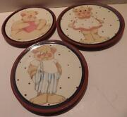 3 Studio Pottery Redware Plates With Teddy Bears Boy Girl Heart Signed 8