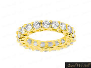3.3ct Round Diamond Trellis Woven Shared Prong Eternity Band Ring 14k Gold H Si2