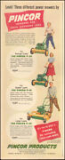 1949 Vintage Ad For Pincor Products Power Lawn Mowers`art Red  030118