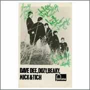 Dave Dee, Dozy, Beaky, Mick And Tich Autographed Fontana Records Promo Card Uk