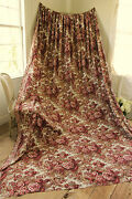 Bed Curtain Antique French Madder Brown 1860 Alsace Textile 10.5 By 7.9 Feet