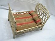 Vintage Ornate Heavy Cast Iron Doll Bed Victorian Toy Salesman Sample