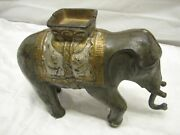 Large Antique Cast Iron Circus Elephant Mechanical Dime Bank Coin Animal