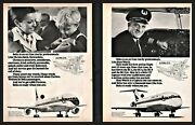 1974 Delta Airlines 2 Ad Lot 727 Captain Russ Worth And Crista Beck Stewardess
