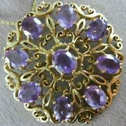 Antique Victorian 14ct Aaa Amethyst 14kt Yellow Gold Flower Pin Brooch 19164