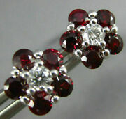 Estate 1.83ct Diamond And Aaa Ruby 18kt White Gold 3d Flower Classic Stud Earrings