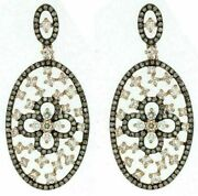 Estate Large 1.97ct White And Chocolate Fancy Diamond 14kt Rose Gold Oval Earrings
