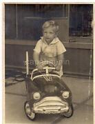 Adorable Idand039d Boy Kid Gets Into His Pedal Car Toy Automobile Vintage 1952 Photo