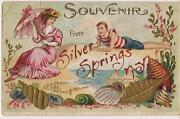 Victorian Lady Swooning Man Souvenir From Silver Springs Ny Vtg/antique Postcard