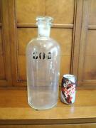 1860s Large 14.6 H Apothecary Bottle Ground Stopper Painted Numerals 304