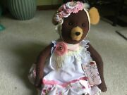 Valentine Primitive Teddy Bear One Of A Kind Gorgeous Lace And Pearls