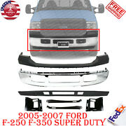 Front Bumper Chrome+upper Cover+valance+brackets For 2005-2007 Ford F-250 F-350