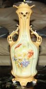 Vintage Royal Wettina Hand Painted Floral Vase Rh Made In Austria 14 Tall
