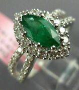 Estate 1.53ct Diamond And Aaa Emerald 18kt White Gold Classic Halo Engagement Ring