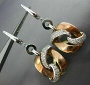 Estate Large .50ct Diamond 14kt White And Rose Gold 3d Love Knot Hanging Earrings