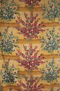 Vintage Fabric French 1920 Printed Cotton Large Scale Painterly Design 1.7 Yards