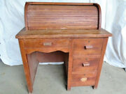 Antique Child's Rolltop Desk, Custom Made Solid Maple Wood, 4 Drawers W/locks